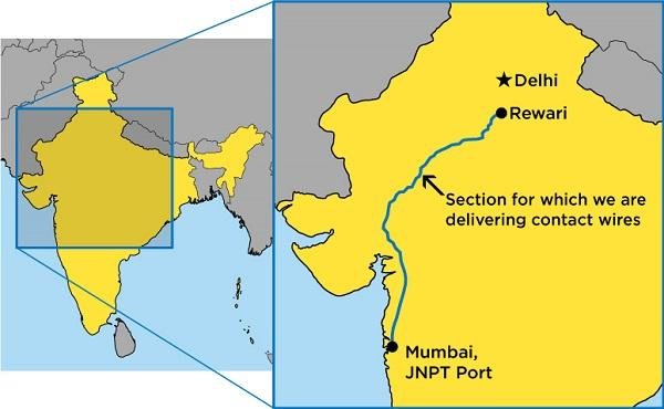 Jawaharlal Nehru Port Section of Western DFC, where our contact wires will be installed